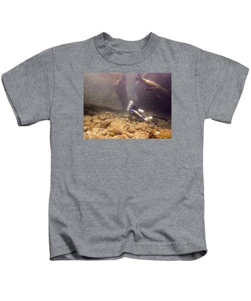 Diver And Sea Lion Kids T-Shirt