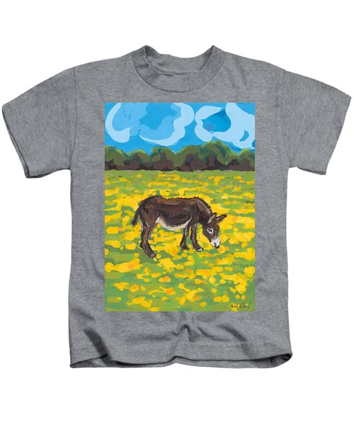 Donkey And Buttercup Field Kids T-Shirt by Sarah Gillard
