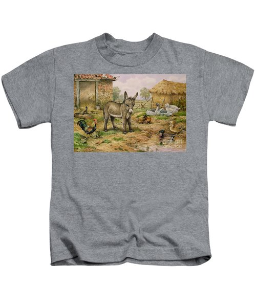 Donkey And Farmyard Fowl  Kids T-Shirt by Carl Donner