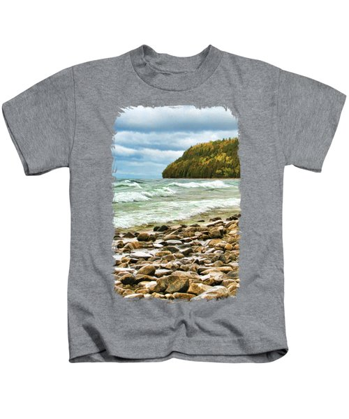 Door County Porcupine Bay Waves Kids T-Shirt by Christopher Arndt