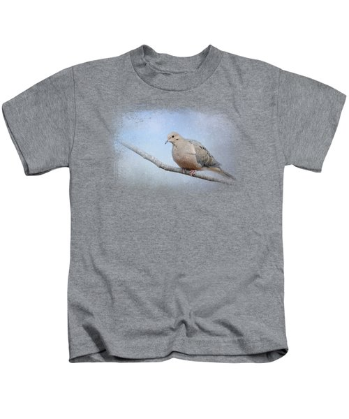 Dove In The Snow Kids T-Shirt by Jai Johnson