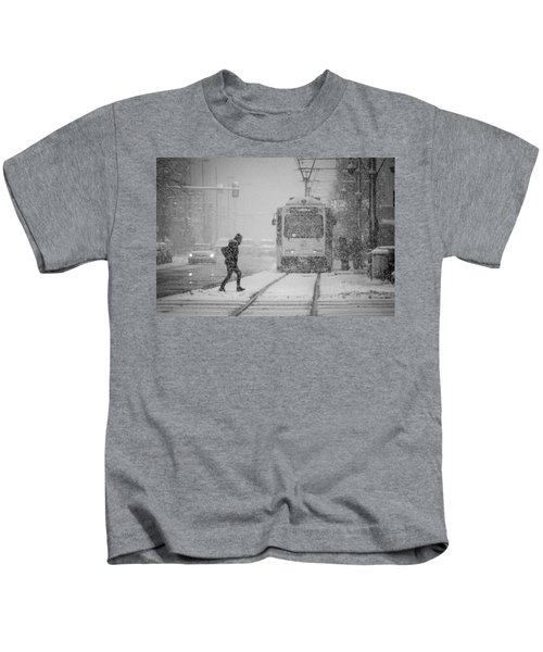 Downtown Snow Storm Kids T-Shirt