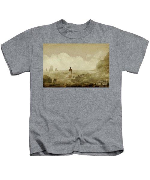 Dramatic Seascape And Woman Kids T-Shirt