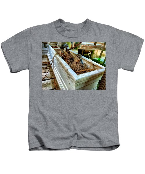 Kids T-Shirt featuring the photograph Duck On The Dock by Chris Montcalmo