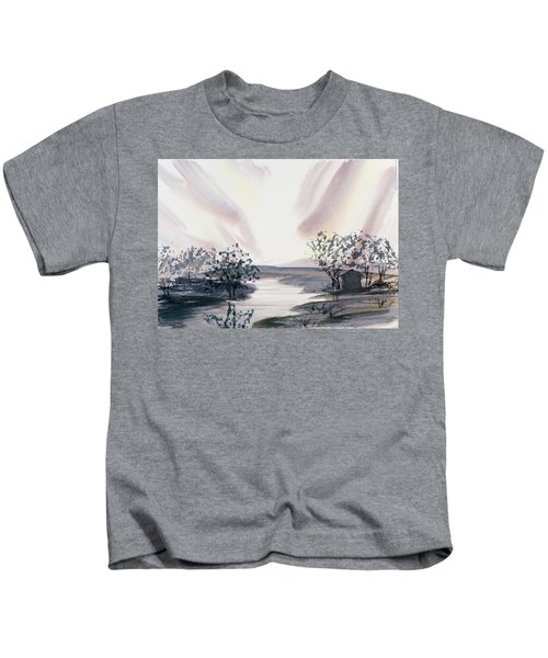 Dusk Creeping Up The River Kids T-Shirt