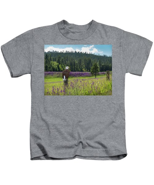 Eagle On Fence Post Kids T-Shirt