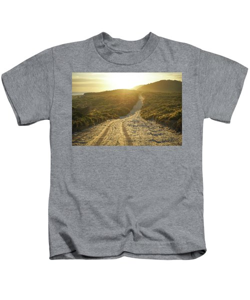 Early Morning Light On 4wd Sand Track Kids T-Shirt