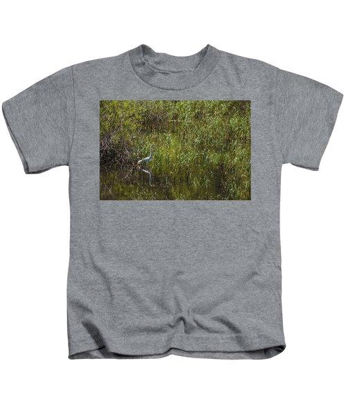 Egret Hunting In Reeds Kids T-Shirt
