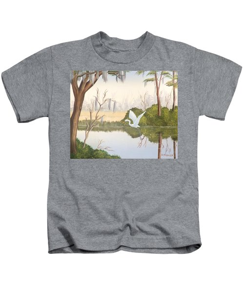Egret In Flight 1 Kids T-Shirt