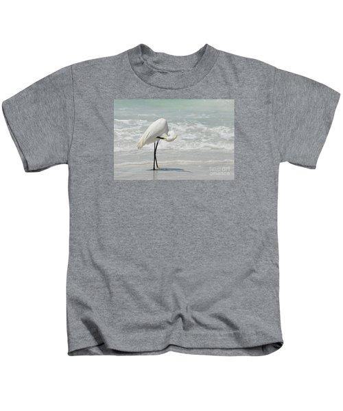 Egret Preening 6278 Kids T-Shirt