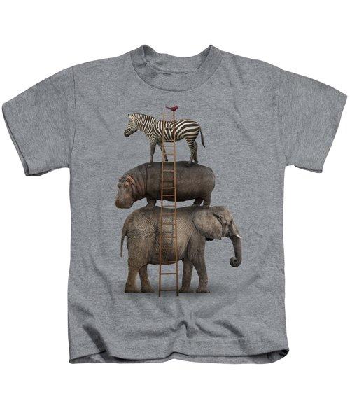 Elephant, Hippo, Zebra Animal Stack With A Cardinal Kids T-Shirt by Greg Noblin
