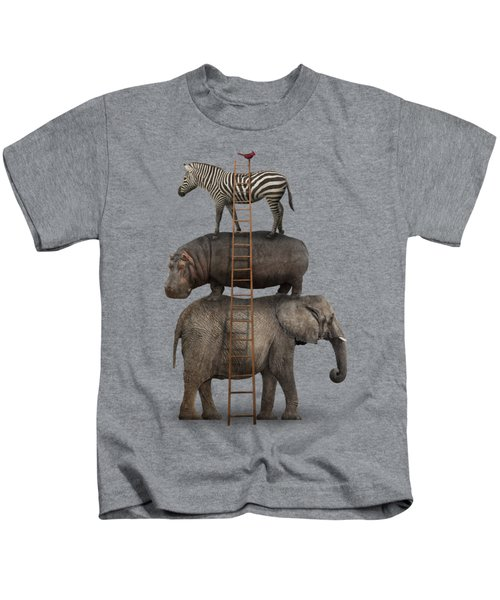 Elephant, Hippo, Zebra Animal Stack With A Cardinal Kids T-Shirt