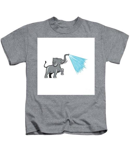 Elephant Marching Spraying Water Cartoon Kids T-Shirt