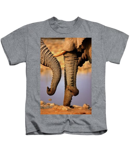 Elephant Trunks Interacting Close-up Kids T-Shirt