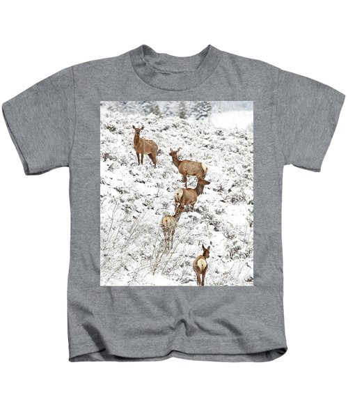 Elk Cows In Snow Kids T-Shirt
