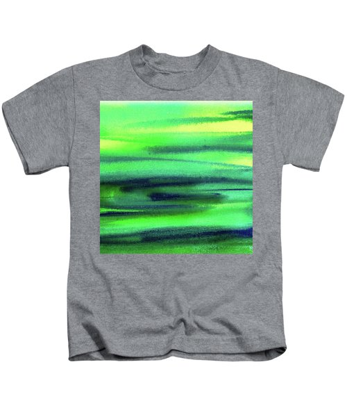 Emerald Flow Abstract Painting Kids T-Shirt