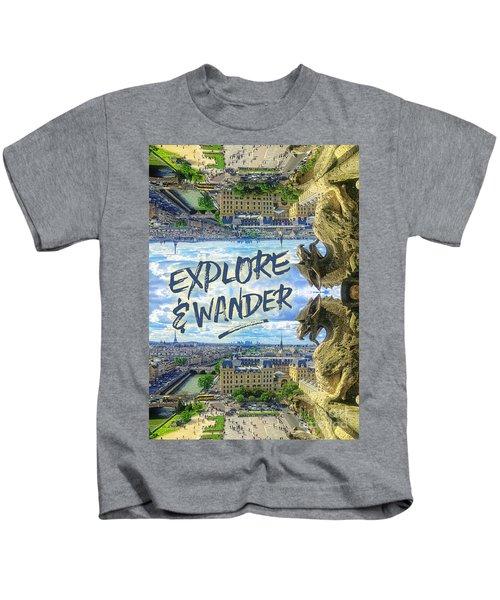 Explore And Wander Notre Dame Cathedral Gargoyle Paris Kids T-Shirt