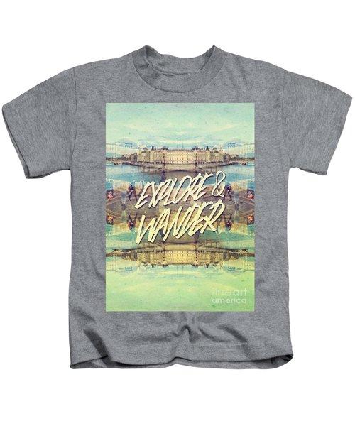 Explore And Wander Seine River Louvre Paris France Kids T-Shirt