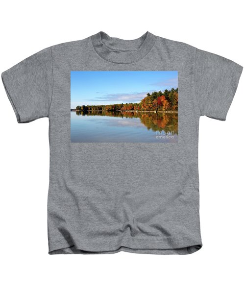 Fall Tree Reflections Lake Sabago Maine Kids T-Shirt