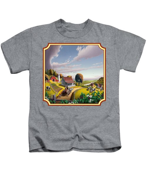 Farm Americana - Farm Decor - Appalachian Blackberry Patch - Square Format - Folk Art Kids T-Shirt