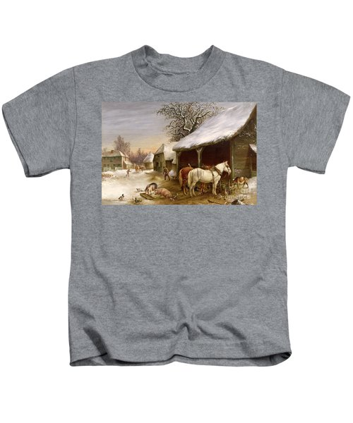 Farmyard In Winter  Kids T-Shirt