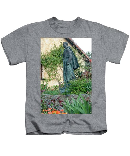 Father Junipero Serra Statue At Mission Carmel Kids T-Shirt