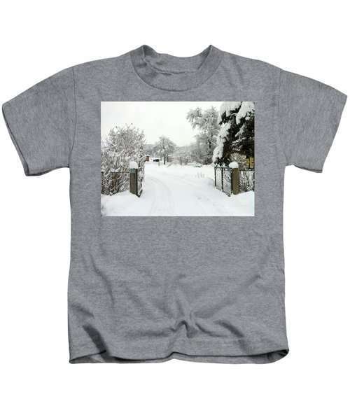 Fence And  Gate In Winter Kids T-Shirt
