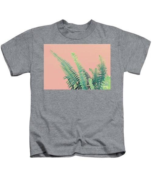 Ferns On Pink Kids T-Shirt