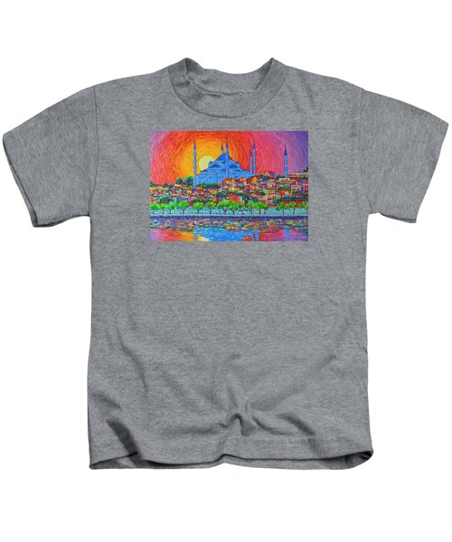 Fiery Sunset Over Blue Mosque Hagia Sophia In Istanbul Turkey Kids T-Shirt