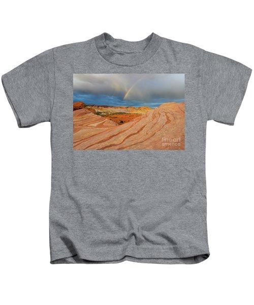 Fire Wave Rainbow Dawn Kids T-Shirt
