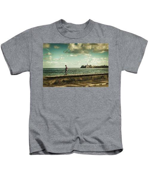 Fishing Along The Malecon Kids T-Shirt