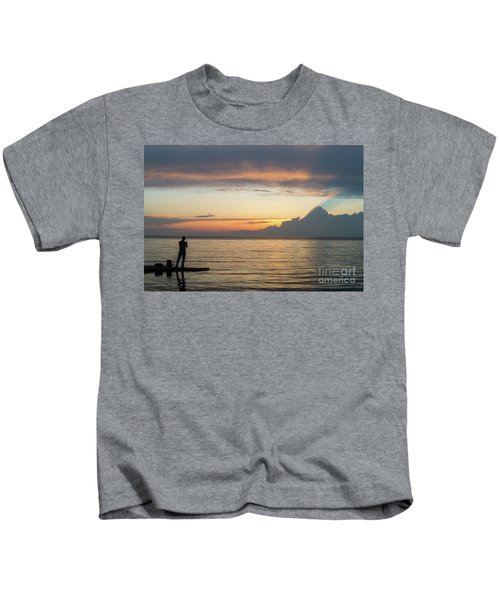 Fishing At Sunset Kids T-Shirt