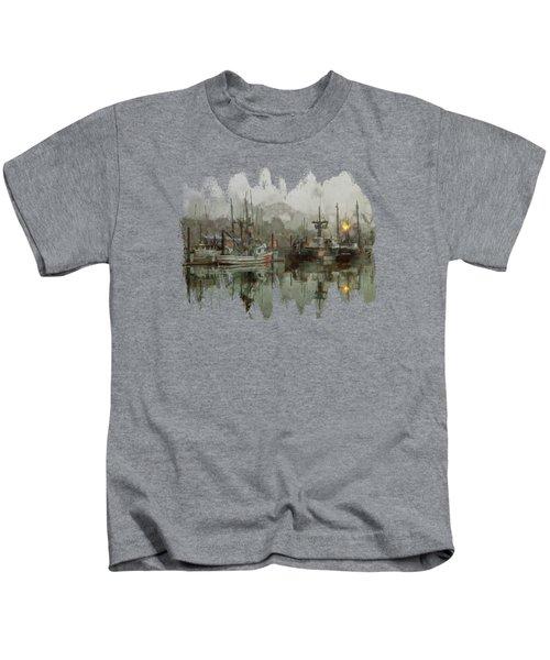 Fishing Fleet Dock Five Kids T-Shirt