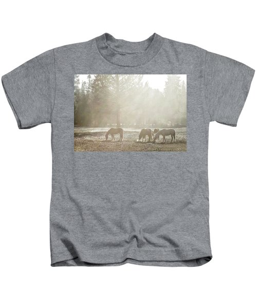 Five Horses In The Mist Kids T-Shirt