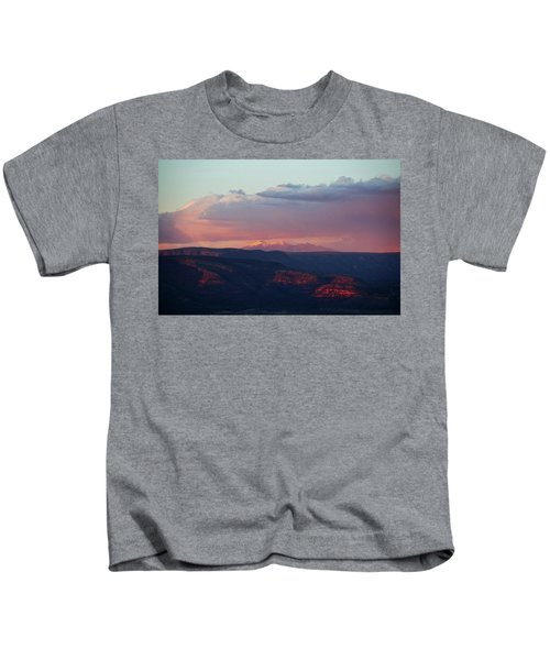 Flagstaff's San Francisco Peaks Snowy Sunset Kids T-Shirt