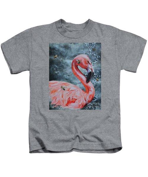Flamingo And Bees Kids T-Shirt