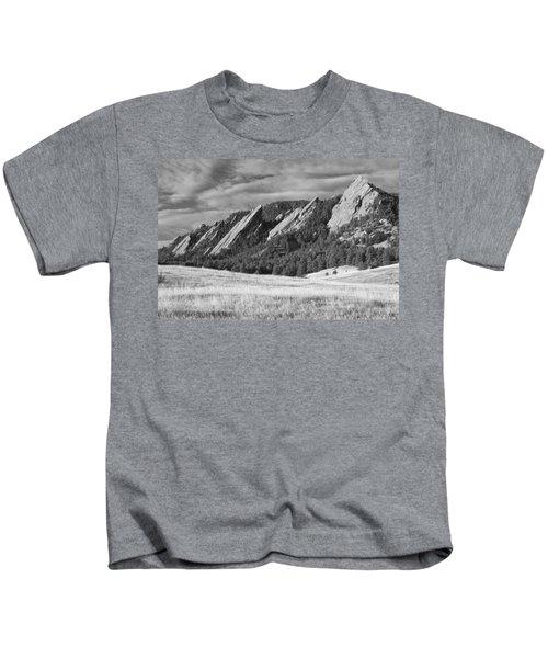 Flatiron Morning Light Boulder Colorado Bw Kids T-Shirt