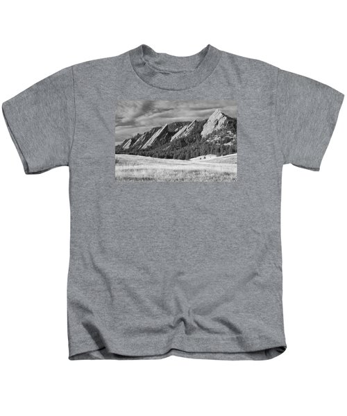 Flatiron Morning Light Boulder Colorado Bw Kids T-Shirt