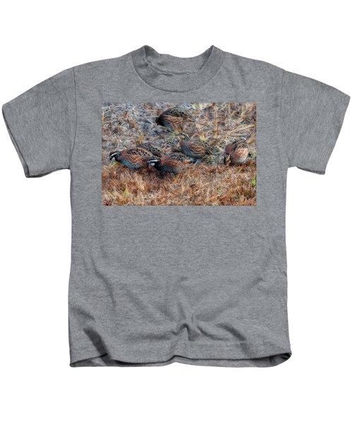 Flock Of Quail Feeding In Field Kids T-Shirt