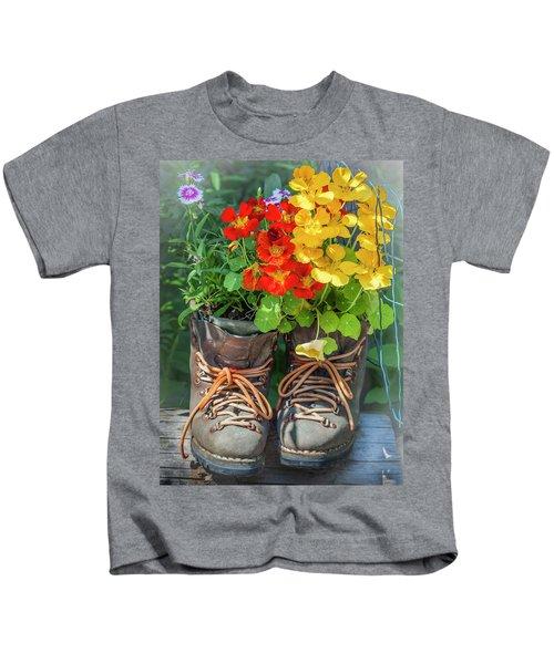 Flower Boots Kids T-Shirt
