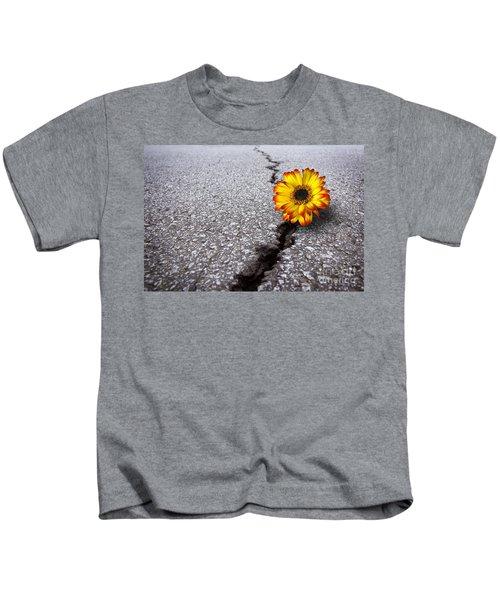Flower In Asphalt Kids T-Shirt