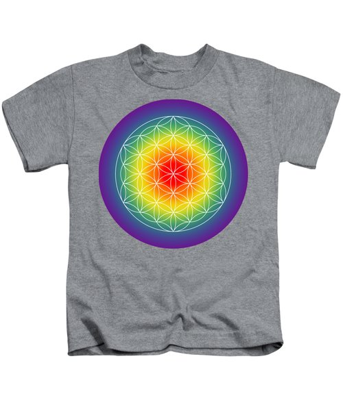 Flower Of Life With Radiating Chakras Kids T-Shirt