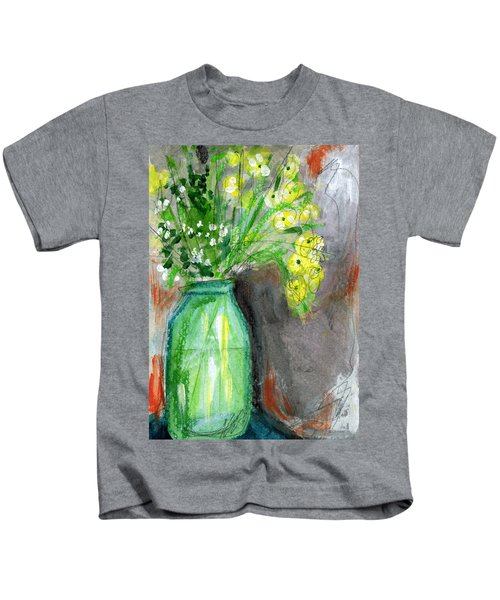 Flowers In A Green Jar- Art By Linda Woods Kids T-Shirt