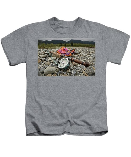 Fly Rod And Streamers Landscape Kids T-Shirt
