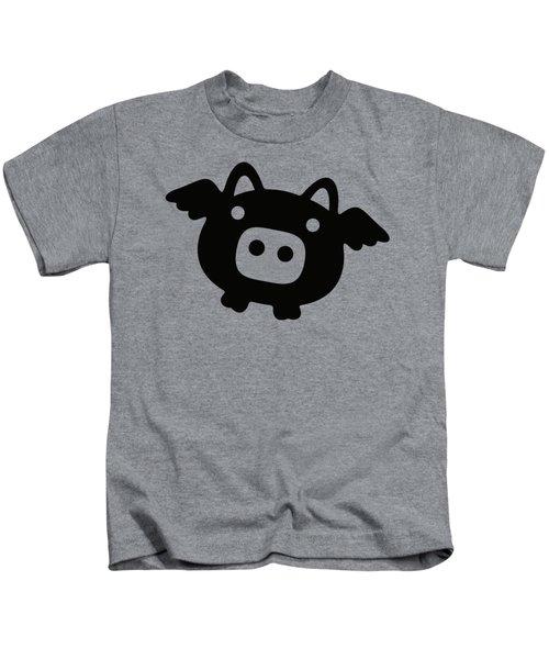 Flying Pig - Black Kids T-Shirt by Julia Jasiczak