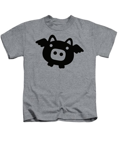 Flying Pig - Black Kids T-Shirt