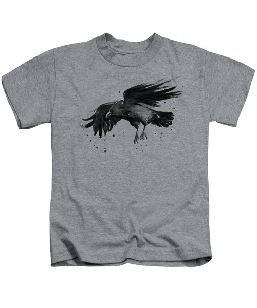 Flying Raven Watercolor Kids T-Shirt by Olga Shvartsur