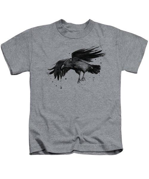 Flying Raven Watercolor Kids T-Shirt by Olga Shvartsur
