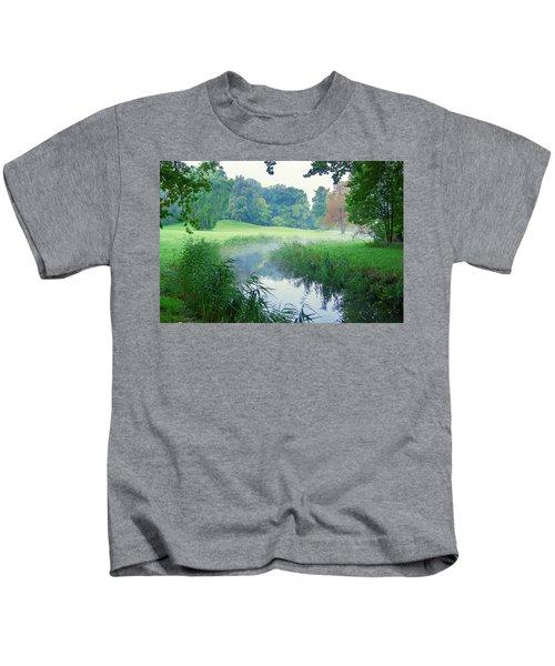 Fog Along A Creek In Autumn Kids T-Shirt