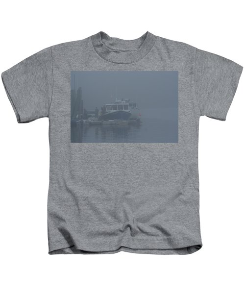 Fogged In At Owls Head Kids T-Shirt